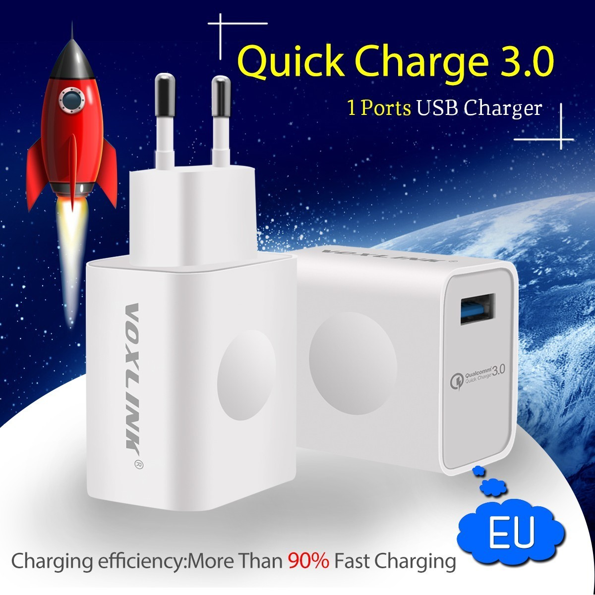 [Qualcomm Certified] VOXLINK Quick Charge 3.0 Full 18W USB Turbo Wall Fast Travel Charger For Samsung HTC LG A9 Xiao Mi