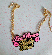 185N Acryli laser jewlery realwomen hustle hard necklace