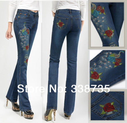 High-quality-womens-denim-jeans-spring-2014-new-arrival-peacock-embroidered-jeans-brand-designer ...