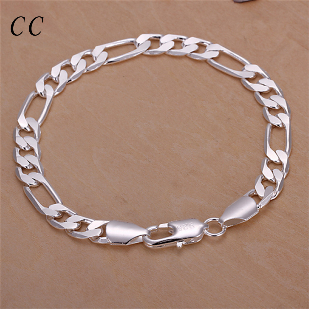 Wholesale three interval one figaro 8mm wide chain for men casual silver plated homme bracelets fashion jeweley bijoux CCNE0679(China (Mainland))