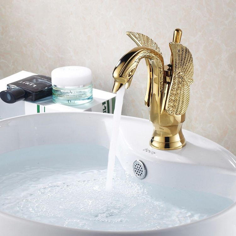 Copper hot and cold taps titanium copper gold plated basin faucet Single Handle Centerset Bathroom Sink Swan Faucet crane HJ-35K(China (Mainland))