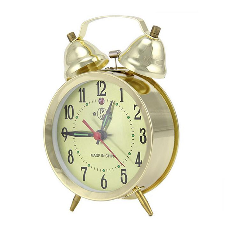2017 4 Inch Metal Circular Mechanical Clockwork Alarm Clock Retro Double Bell Gold Silver Clocks With Backlight(China (Mainland))