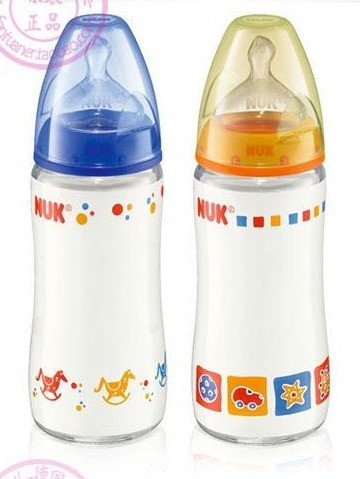 110mm nuk 240ml newborn baby 1 glass bottle