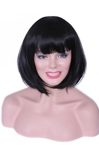 Cheap Short Straight Synthetic Hair Black BOB Wigs Cosplay Party Wig<br><br>Aliexpress