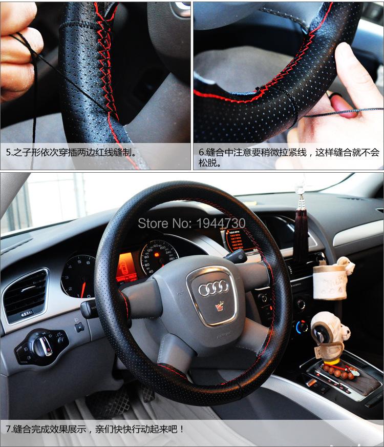 diy genuine cowhide car braid leather steering wheel cover 38cm universal size black grey beige. Black Bedroom Furniture Sets. Home Design Ideas