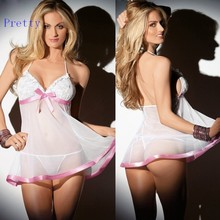 New Arrival 2015 Women Lingerie Dress Sexy Halter Lace Bow Perspective Lingerie With G-string White 29