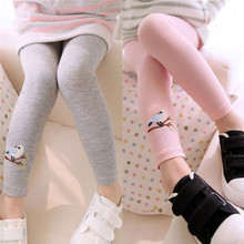 Baby Kids Girls Cotton Pants Embroidery Bird Warm Stretchy Leggings Trousers