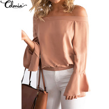 Buy CELMIA Women Solid Office Blouse Ladies Shoulder Sexy Chiffon Tops Slash Neck Long Flare Sleeve Loose Shirts Blusas for $7.29 in AliExpress store