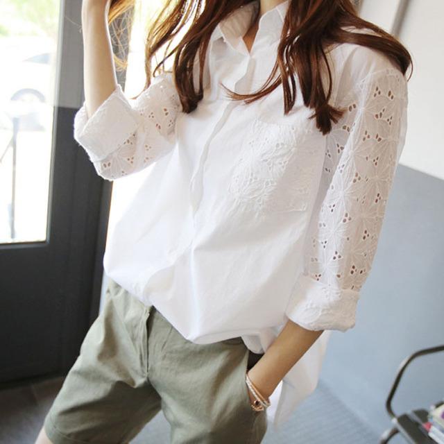 Весна высокое качество кружева блузка женщины бренда свободного покроя топы дамы ...