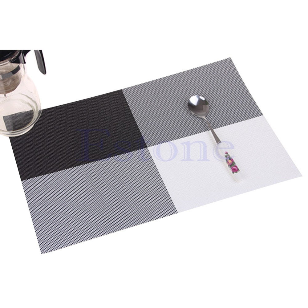 Home Decor Kitchen Dining Placemat font b Chequer b font Adiabatic PVC Strip Weave Table Mat