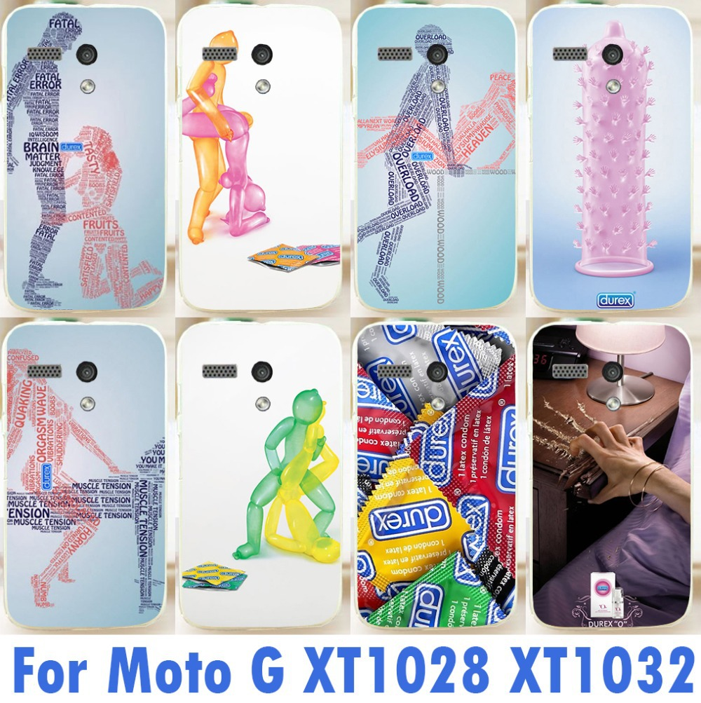 new arrival mobile phone case 1PC freeshipping For Motorola Moto G XT1028 XT1031 XT1032 durex condom painting cover case(China (Mainland))