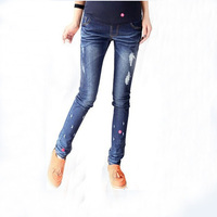 free ship spring adjustable blue  maternity skinny small foot jeans pregnant woman skinny belly pants