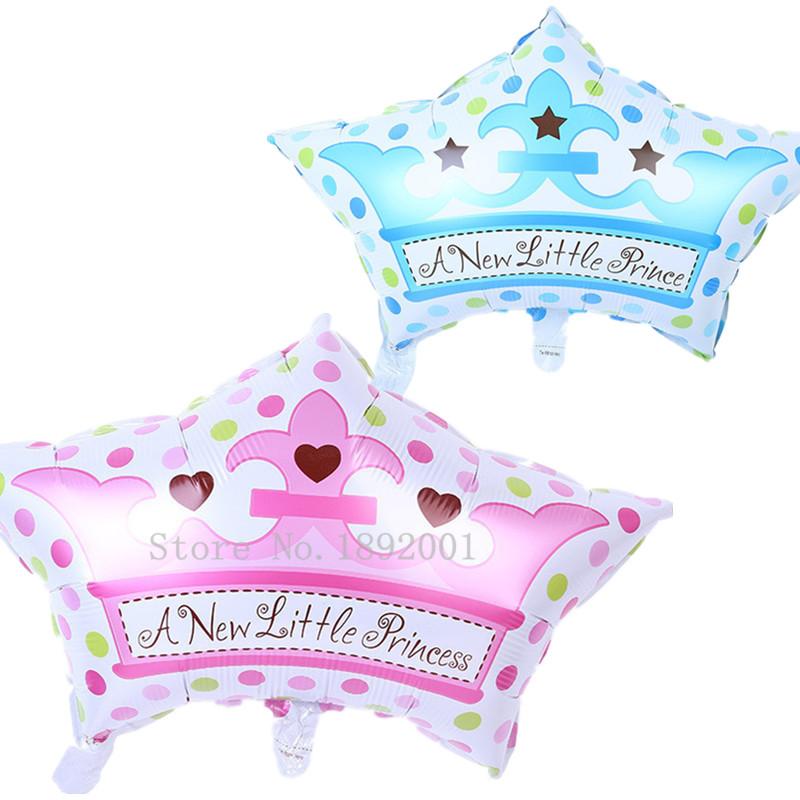 Free shipping 1pcs new export blue pink crown cap aluminum balloons birthday baby full moon party wedding decorations(China (Mainland))