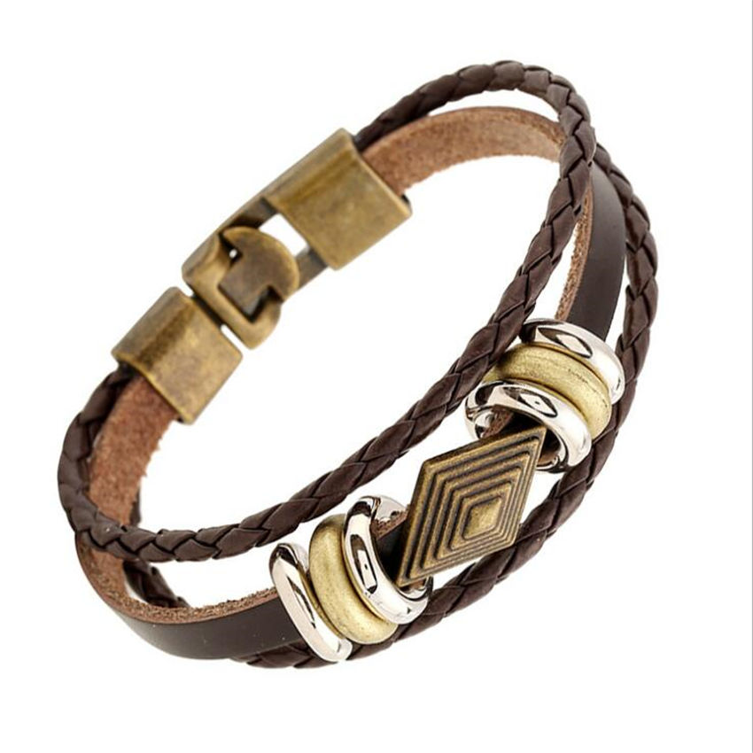 2016 Vintage Gold Charms Braided Dark Brown Leather Wristband Bracelet For Women Men Bead Charm Bracelets Male Female MJB040(China (Mainland))
