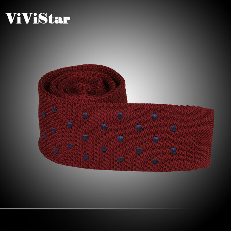 2014 Polyester Silk embroider Knitting Wool Men Necktie Casual Flat End Ties Fashion Dot Pattern 9 Colors Ties for Men M0133(China (Mainland))