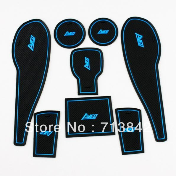 Free Shipping! NEW 8 PCS Non-Slip Interior Door Mat Cup Mat For Chevrolet  AVEO 2011 2012 2013 Blue