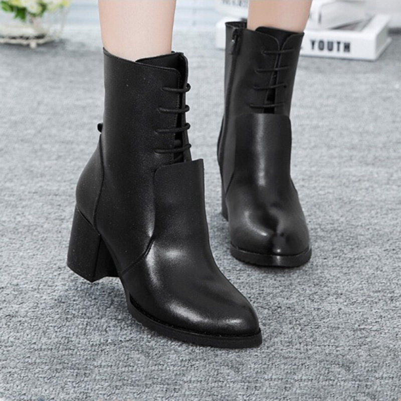 Фотография 2016 Autumn Winter New Genuine Leather Fashion Women Boots Round Platform Black Flat Shoes Solid Female Ankle Boots Shoes ZK3