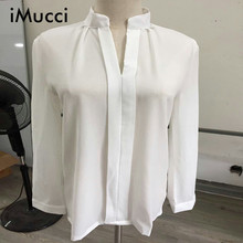 Buy iMucci Fashion Casual White Women Blouse Ladies Solid Elegant V-neck Blouses Long Sleeve OL Office Shirt Plus Size ) for $7.19 in AliExpress store