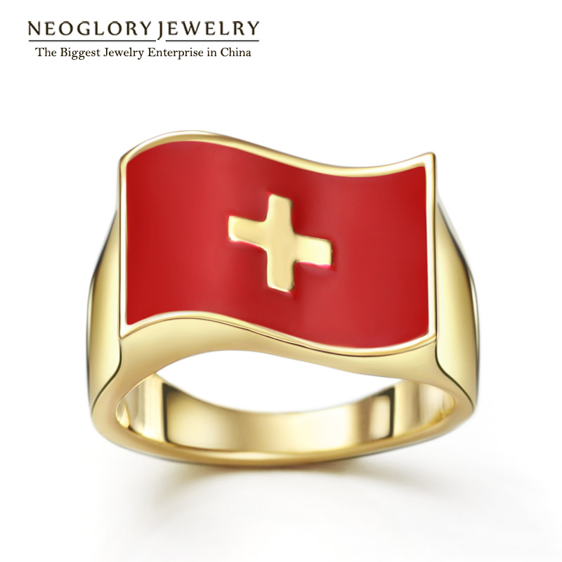 Neoglory Switzerland Flag Rings 14K Gold Plated Stoving Varnish for Women Men Casual Sporty Trendy Jewelry 2016 New Arrival CLE(China (Mainland))