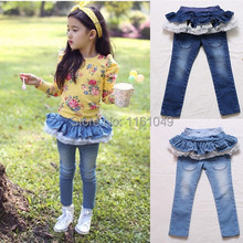 2016 Summer Fashion Children Girls Jeans Pants With Ruffles Denim Pants Summer Clothes Kids Jeans Girls Cute Clothing  (China (Mainland))