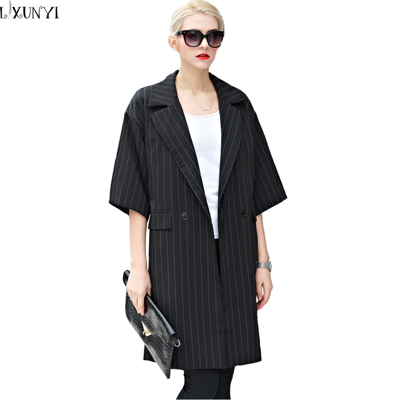 Europe Station 2016 long Trench Coat For Women Medium Long loose Striped Trench Coat Spring loose Thin Seven Sleeve Outerwear