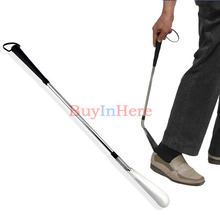 Stainless Steel Metal Long Easy Handle Shoes Shoe Horn Spoon Lifter Flexible Shoehorn Tool(China (Mainland))