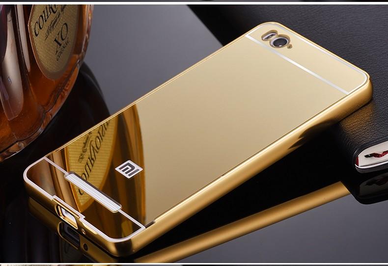 2016 For Xiaomi Mi4C Case Luxury Mirror Metal Aluminum+Acrylic Hard Back Cover For Xiaomi Mi 4C Phone Fundas Accessory Capa