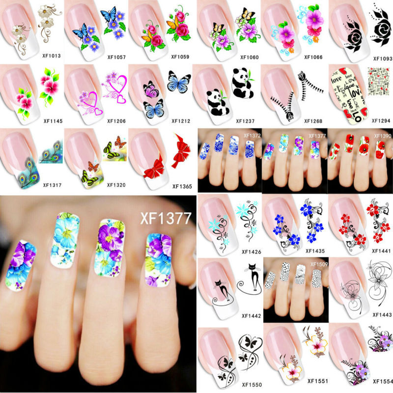 Cute Watermark Nail Sticker Water Transfer Printing Nail Decal Stickers Flower Deco Patch DIY Nail Art Decorations Stick NXFSSS1(China (Mainland))