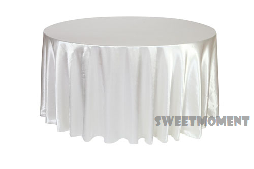 20 Cheap white Satin/Polyester TableCloth Banquet Hot Sale Tablecloths Table over 108'' Round(China (Mainland))