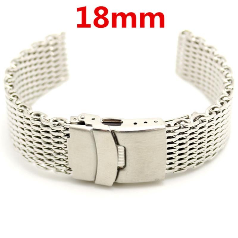 18mm Silver Wrist Band Width Stainless Steel Mesh Web Wrist Watch Band Strap + 2pcs Spring Bars(China (Mainland))