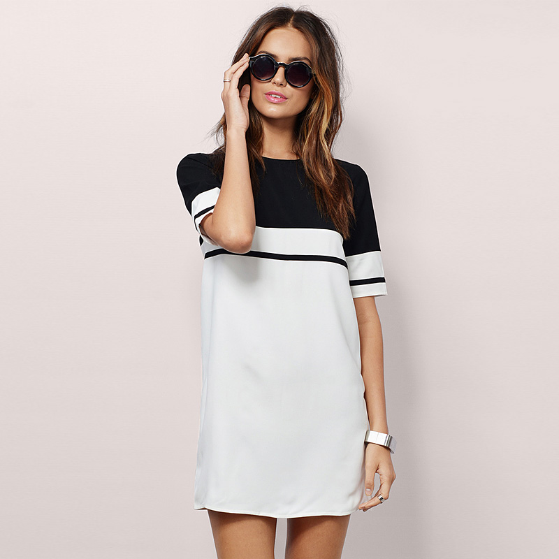 New Style Summer Dress Women 2016 Black And White Hit Color Stitching Dress Elegant Solid Color Casual Shirt Dress Plus Size(China (Mainland))