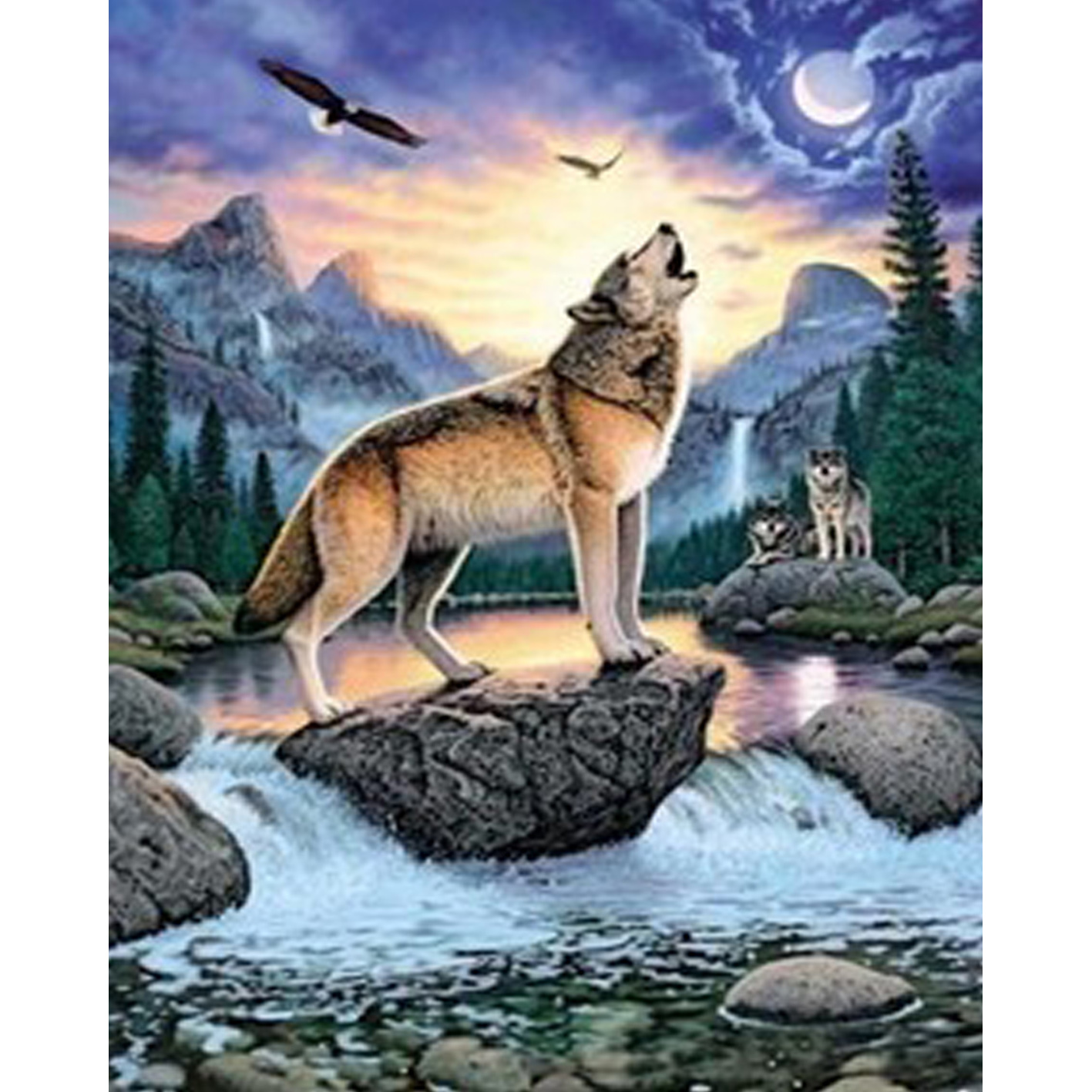 Western Style DIY Paintings 5D square Diamond Stitching Needlework Embroidery Home Decoration gift wolf 40x50cm QLD-843