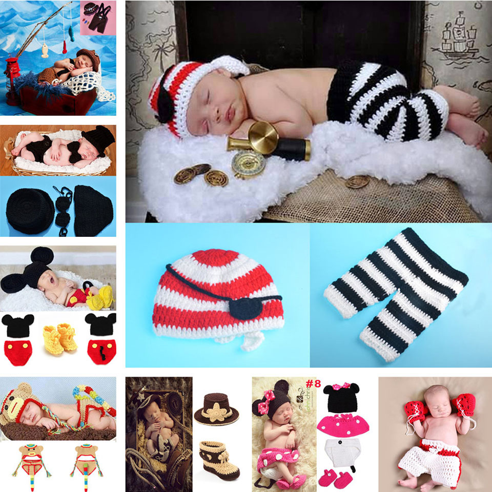 Pirates Newborn Hat Eye patch and Maoku Set Crochet Baby Hat and Trousers Infant Hat handmade photography props MZS-15068-J(China (Mainland))