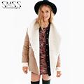 New Fashion Sheep Velvet Big Collar Autumn Spring chaqueta cuero veste en cuir femme Fleece inside
