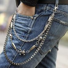 The Metal Men Biker Pants Chain Skull Bullets Multilayer Waist Chain Male Belly Chain Fashion Accessores CF-023
