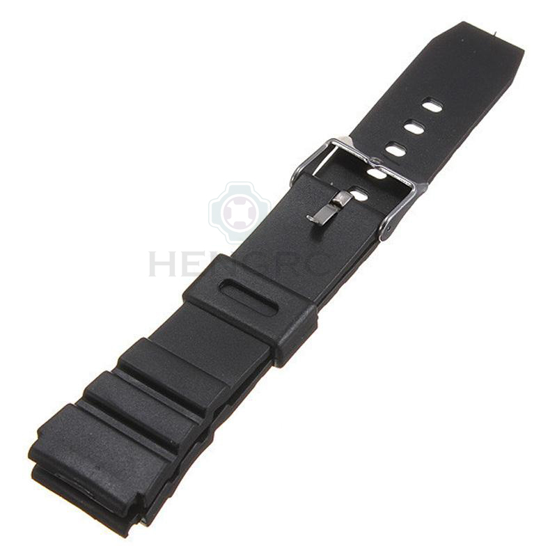 Rubber Watch Band Strap Sport Diving 18 20 22mm Men Silicone Bracelet With Silver Stainless Steel Metal Needle Buckle For Casio