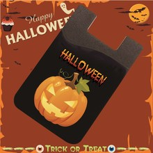 Halloween Stick On Wallet Flexible Silicone Pouch Bag Card Pocket Card Holder Universal Size For iphone 6s,6,5,S6, S5#Pumpkin A(China (Mainland))