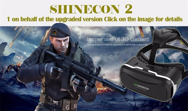 Original Shinecon VR Virtual Reality 3D Glasses Google Cardboard Head Mount Helmet For 4-6.0′ Smartphone+Remote