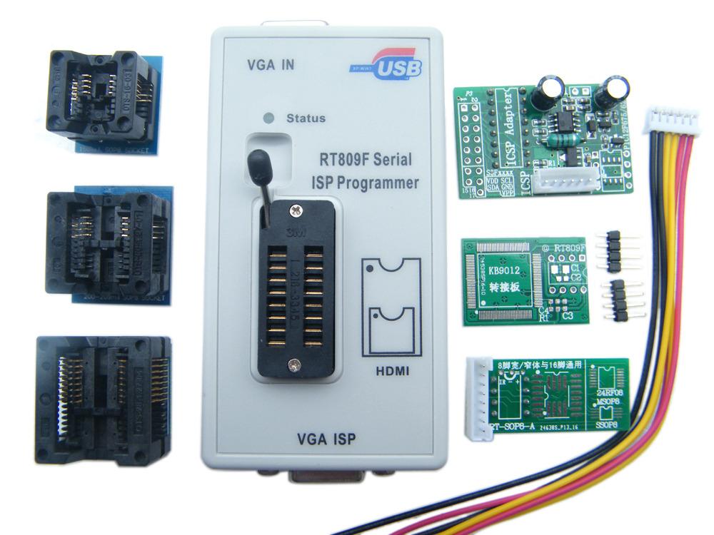 RT809F ISP Programmer + ICSP cable ICSP board 6Adapters 24-25-93 serise IC Offline board KB9012 + VGA LCD ISP programmer RT809F(China (Mainland))
