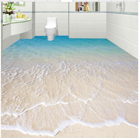 Custom photo floor wallpaper 3d stereoscopic 3d sea beach for Beach house flooring pictures
