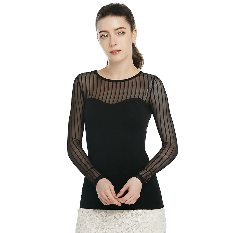 2016 Womens T Shirt See-through long sleeve Shirt Solid and back Splicing stripe Lace Tee Shirt Sexy Tops Free Shipping(China (Mainland))