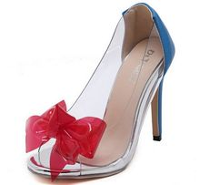 Size 4~9 Hot Red Bowtie Women Shoes Elegant Summer Peep Toe Blue High Heels Pumps zapatos mujer (Chenk Foot Length) - Real Steel store