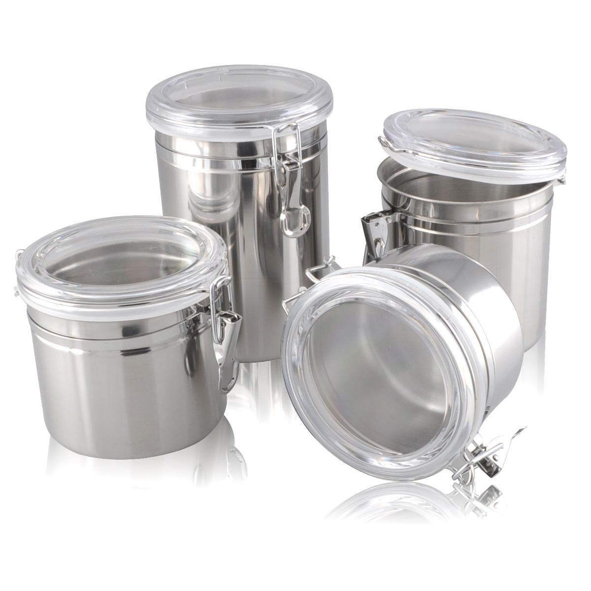4pcs Stainless steel sealed cans storage tank plastic milk powder coffee bean tea candy Large(China (Mainland))