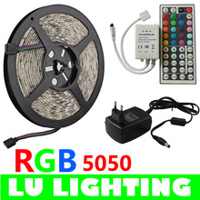5M SMD 5050 RGB LED Flexible Strip Light Kit 300LEDs 60LEDs/M with 24/44Keys IR Remote Controller+DC 12V Power Supply Adapter(China (Mainland))