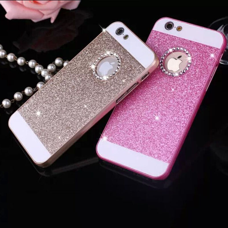 show logo glitter powder bling Hard Plastic back cover Personality fashion Sparkle Phone case iphone 5 5s SE - Corcossi Science & Technology CO., LTD store