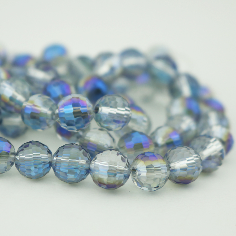 Wholesale Beads 10mm Crystal Jewelry DIY Bead 96 Faceted Round Disco Ball Glass Beads Half Blue Plated Color 710pcs/lot<br><br>Aliexpress
