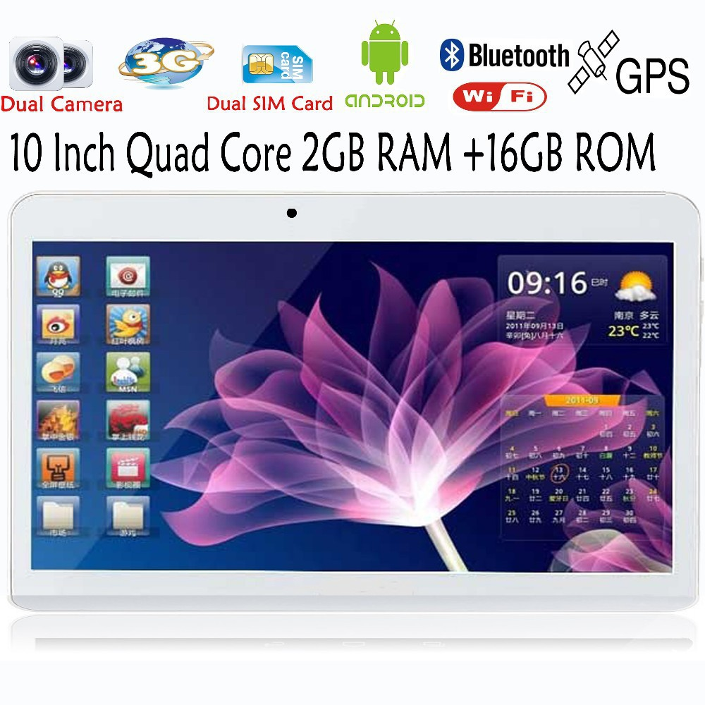 10 Inch 3G ExternalQuad  Bluetooth FM 2 SIM Card Phone Call Smart Tab Pad core Android4.4 Tablets pc GPS 2GB 16GB 1024*600 LCD