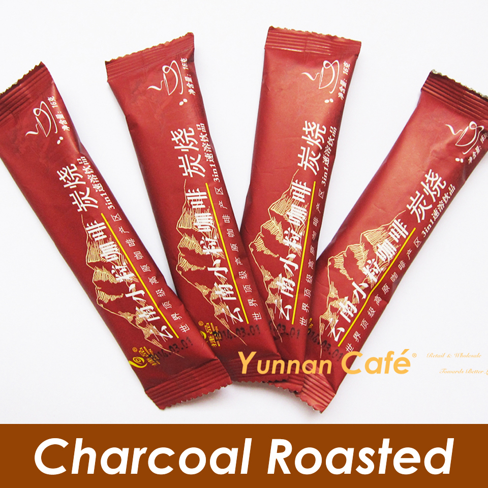 Free Shipping Charcoal Roasted Flavor Yunnan Arabica 3 IN 1 Instant Coffee Slimming Body 16G x