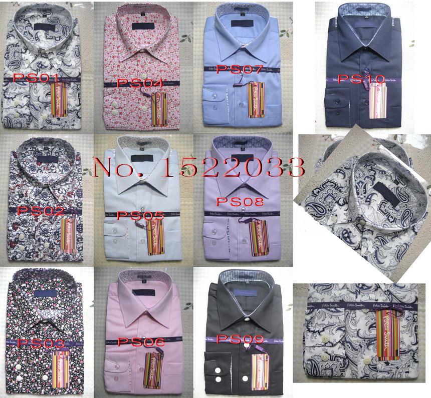 produto PS01# Hot sales!new Brand Pola smith shirtfashion casual shirt cotton Stripe solid color long-sleeved men shirt Free Shipping