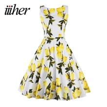 Buy iiiher Lemon Print floral 50 60s Vintage Dresses Audrey Hepburn Sleeveless 2016 Summer Retro Dress Vestidos Robe Womens Clothing for $17.99 in AliExpress store